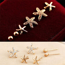 Women Ear Stud Earings JewelQ6Q 3pairs/bag Bright Starfish Shaped Earrings For