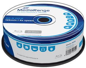 50 Mediarange Rohlinge Blu-ray BD-R 25GB 4x Spindel