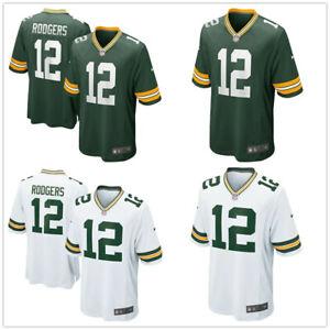 Herren NFL Aaron Rodgers #12 Green Bay Packers American Fußball Trikot Jersey