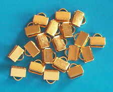 40 gold plated medium (8mm) clasps/clamps for ribbon, findings for jewellery