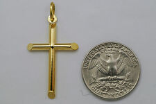 10K gold large plain cross pendant