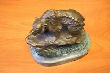 Bear Bronze Sculpture by P. Tourgueneff Statue  Marble Animal Figure on Stand