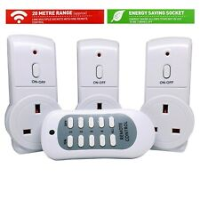Remote Control Sockets Wireless Operated 20M Range UK Mains Plug Smart Socket