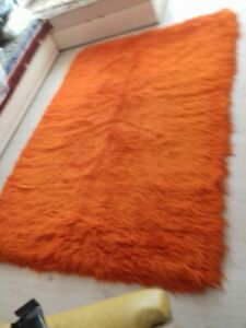2000 GRAM Orange Flokati Shag Rug 100% NATURAL WOOL 6'x 2.6' x 3 pieces