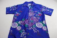 VTG 1960's Royal Palm Hawaii Bold Floral Artwork CAMP SHIRT M Medium Slim