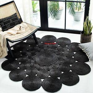 Jute Rug 100% Natural Bohemian 4x4 feet Vintage Area Dhurrie Boho Carpet Rag Rug