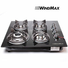 WindMax 23.6inch GAS Tempered Glass Panel Cooktop Stove Cook Top 4 Burner Wok