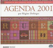 Agenda 2001 Régine Deforges point de croix sur le thème rouge