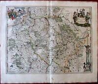 Palatina ad Rhenum Rhine river 1644 Jansson Germany old map