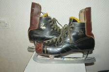 PATIN A GLACE CUIR ABC  FIGHT  T 45 LEATHER ICE SKATE VINTAGE 1960/70 SWEDEN