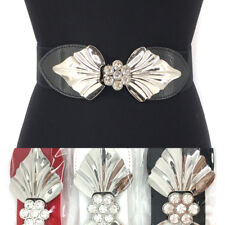 WOMEN ELASTIC Wide Rhinestone Silver Metal WAIST BELT Stretch Wedding Prom Dress