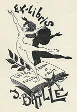 Erotik Tanz Exlibris Paul Morvan / Batlle Erotic Nude Woman Dancer 1948