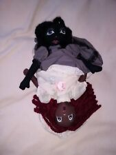 Topsy Turvy Doll Lot # 8 Lt Pink floral/Solid Gray Hand made by Ginger Girl