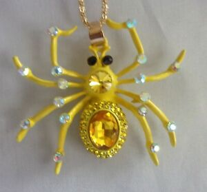 "NWT Betsey Johnson Yellow Spider Rhinestone Crystals Pendant Necklace 26"" Chain"