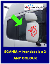 Scania mirror casing decals x 2. Griffin truck graphics stickers ANY COLOUR!!!