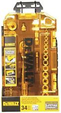 "NEW DEWALT DWMT73804 34 PIECE 1/4"" & 3/8"" DRIVE SOCKET TOOL SET & CASE 7515034"