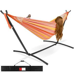 Double Hammock 2 Person Indoor Outdoor W/ Steel Stand Carry Case Sturdy Multi