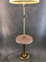 Mid Century Danish Modern Machine Brass & Teak Floor Lamp w/ End Table