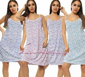 Ladies Strappy Night Dress 100% COTTON Rich Paisley Pattern Night Shirt Nightie.