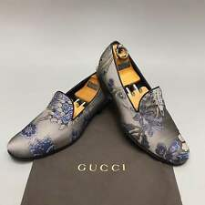 GUCCI loafers formal driving gray textile floral print 10.5 US 43.5 EUR 337030