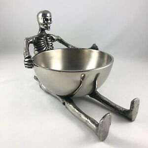 Halloween Silver Metal Sitting Skeleton Holding Serving Bowl Candy, Snacks, Nuts