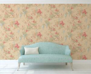 Floral Wallpaper Watercolor Wallpaper Vintage Wallpaper Victorian Blue Pink