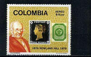 PENNY BLACK- GREAT BRITAIN. # 1,-  COLOMBIA # 1 >>ANNIV.  ROWLAND HILL  1979