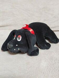 "Vintage Pound Puppies Black Puppy Dog Original Bone Logo 8"" Stuffed Plush 1984"