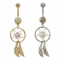 2 Belly Button Rings DREAM CATCHER Gold + Silver Clear Gems 14g Piercing Jewelry