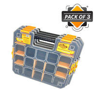 WrightFits Essential Tool Organiser Box - Stackable Storage Case 300 - Pack of 3