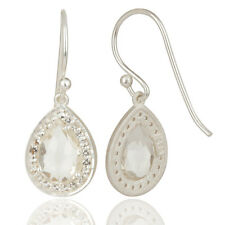 White Topaz And Crystal Gemstone Dangle Earrings 925 Silver Jewelry