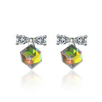 Genuine 925 Sterling Silver Rhinestone Crystal Cube Bowknot Ear Stud Earrings