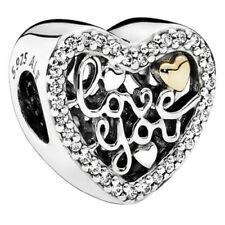 Genuine Pandora Love You, Love Script Heart charm Silver S925 ALE 792037CZ