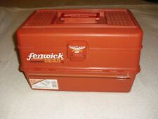 Fenwick Tackle Box Wide Body 3.5 Orange 5 Trays 16� Long 32 Compartments Vtg