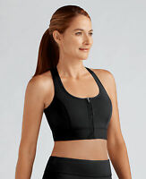 Amoena Zipper Pocketed Mastectomy Sports Bra Non Wired Soft Cup Sports Bra BLACK