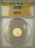 2016 Five Dollar $5 AGE American Gold Eagle Coin ANACS MS-70 Perfect GEM