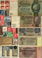 NAZI GERMANY BANKNOTE, COIN AND STAMP SET  # 95