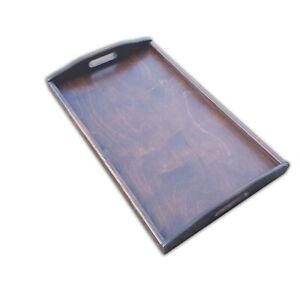 Wooden Serving Large Tray, Set 1 to 10, 50 cm x 30 cm x 5.5 cm, - Dark Brown