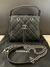 New CHANEL CC Lock Metal Chain Black Caviar Drawstring Case Hand Shoulder Bag