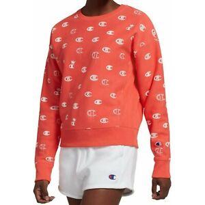Champion Coral Reverse Weave Logo Crewneck Sweatshirt Size S