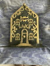 More details for victorian brass & steel money box shaped as a house with doors & windows used