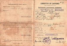 LIBRETTO DI LAVORO MONESIGLIO CUNEO 1947 4-15