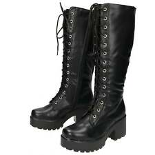 Chunky Boots Heel Platform Black  Knee High Mid Combat Lace Up  size 5/38