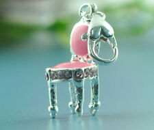 20 Silver Plated Enamel Pink Clip on Chair Charm fit Link Chain Bracelet 37x9mm