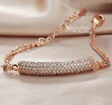 18K Rose Gold Filled Diamond Studded Stylish Exquisite Curved Stripe Bracelet
