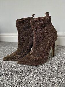 ASOS Stiletto Heel Sock Boots Gold Sparkly UK4