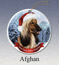 Afghan Hound Howliday Porcelain China Dog Christmas Ornament