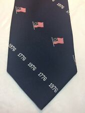 Vintage Mens Tie 4 X 57 Navy Blue With American Flags And 1776 Logo
