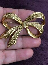Vtg Huge Gold Ribbon Massive Pin Brooch Designers Runway -12