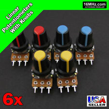 6x 1M OHM Linear Taper Rotary Potentiometers B1M POT with Black Knobs 6pcs U30